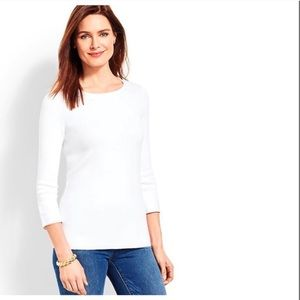 Talbots White Cotton Top 3/4 Sleeve Tee Shirt Sz L
